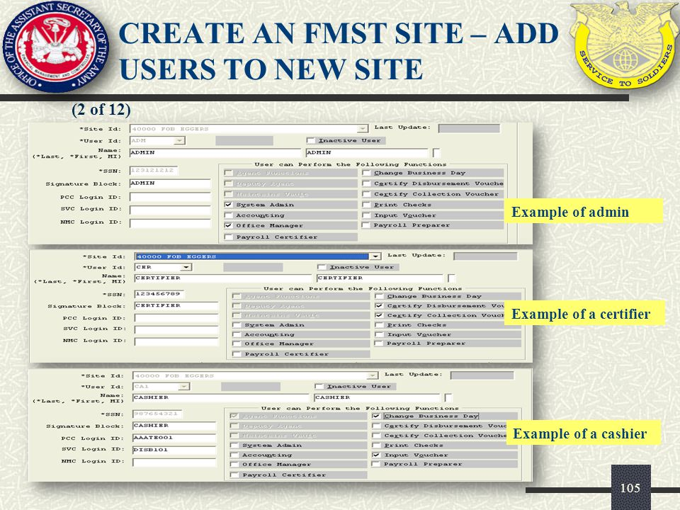 105 (2 of 12) CREATE AN FMST SITE – ADD USERS TO NEW SITE Example of a cashier Example of a certifier Example of admin