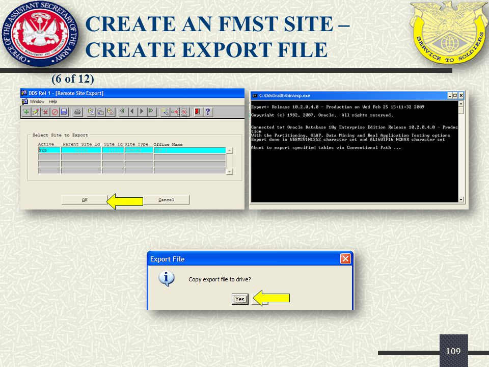 109 (6 of 12) CREATE AN FMST SITE – CREATE EXPORT FILE