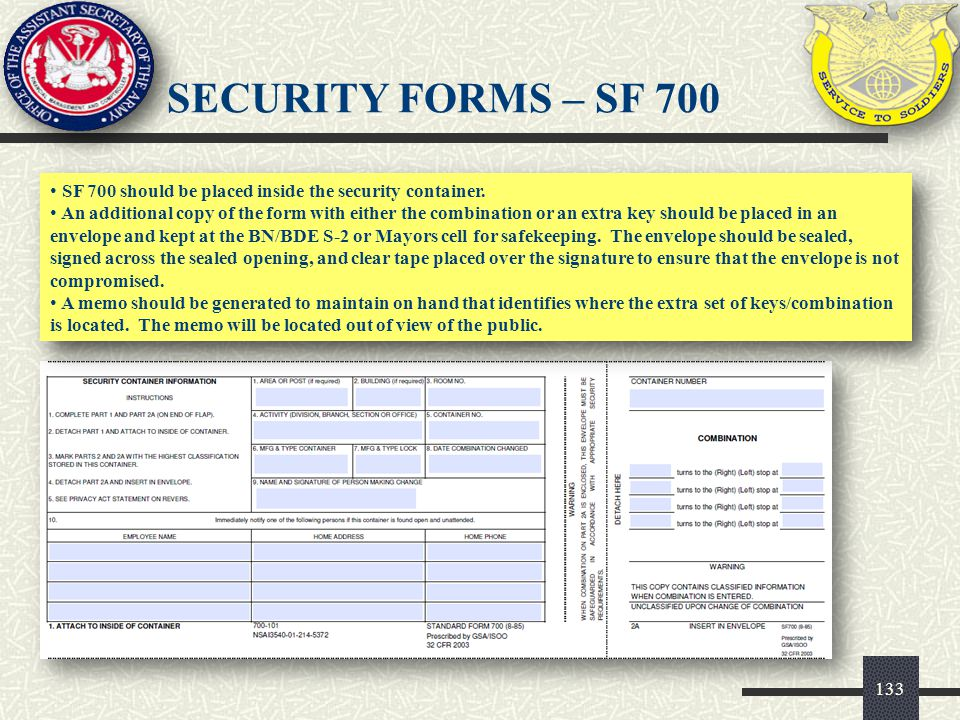 SF 700 should be placed inside the security container. An additional copy of the form with either the combination or an extra key should be placed in