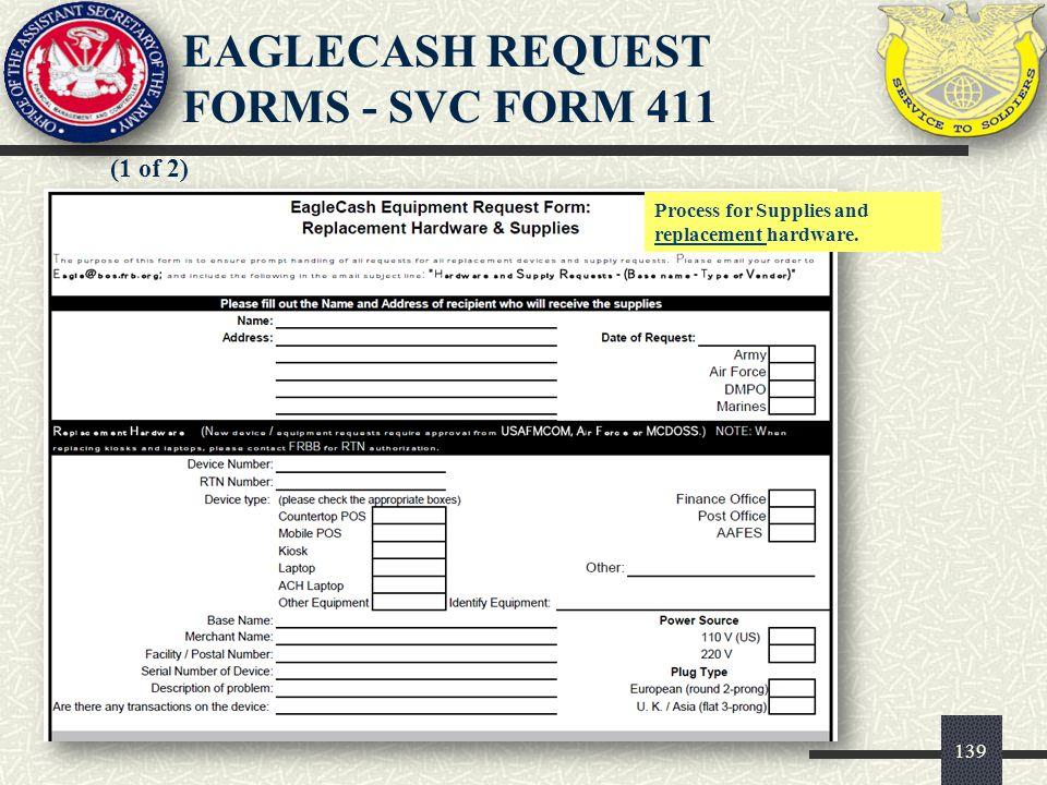 140 (2 of 2) EAGLECASH REQUEST FORMS – SVC FORM 411