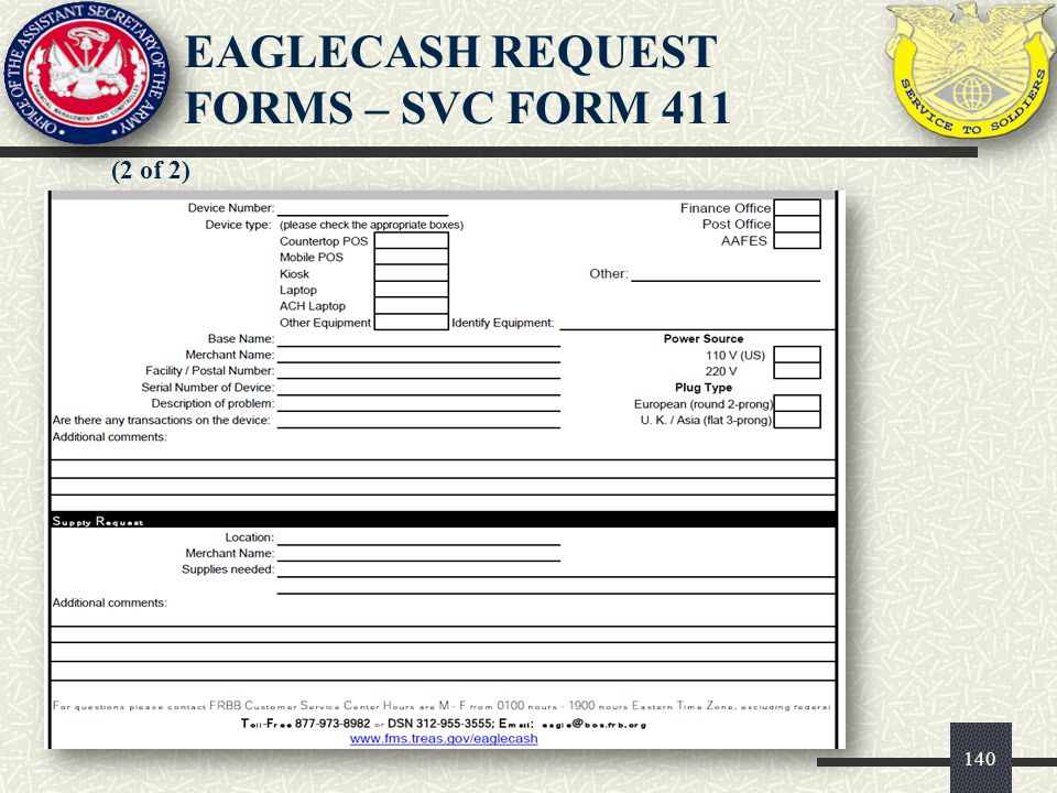 140 (2 of 2) EAGLECASH REQUEST FORMS – SVC FORM 411