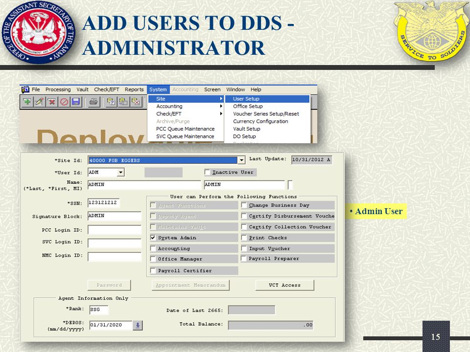 15 Admin User ADD USERS TO DDS - ADMINISTRATOR