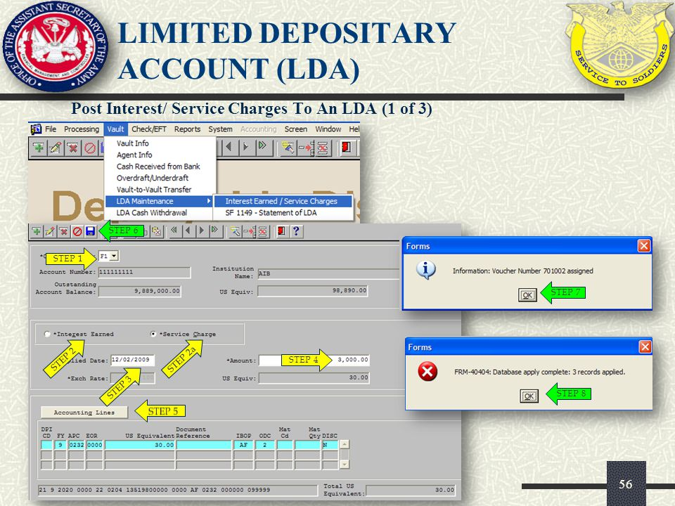 56 Post Interest/ Service Charges To An LDA (1 of 3) LIMITED DEPOSITARY ACCOUNT (LDA) STEP 1 STEP 2STEP 2a STEP 3 STEP 4 STEP 6 STEP 7 STEP 8