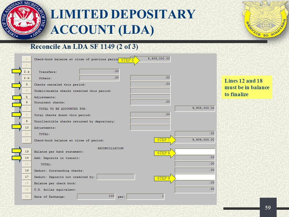 60 Reconcile An LDA SF 1149 (3 of 3) STEP 10 LIMITED DEPOSITARY ACCOUNT (LDA)