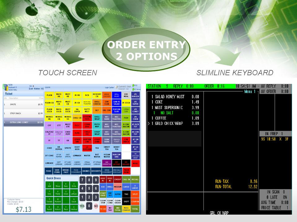 ORDER ENTRY 2 OPTIONS TOUCH SCREENSLIMLINE KEYBOARD