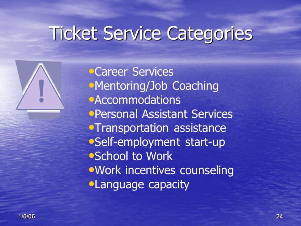 1/5/0624 Ticket Service Categories Career Services Mentoring/Job Coaching Accommodations Personal Assistant Services Transportation assistance Self-employment start-up School to Work Work incentives counseling Language capacity