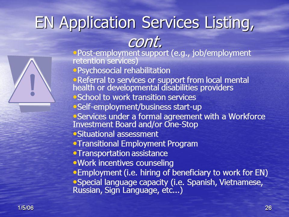 1/5/0626 EN Application Services Listing, cont.