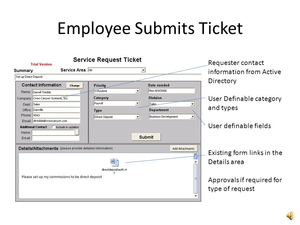 Employee hits create ticket Button from Outlook Employee Opens Ticket from Outlook