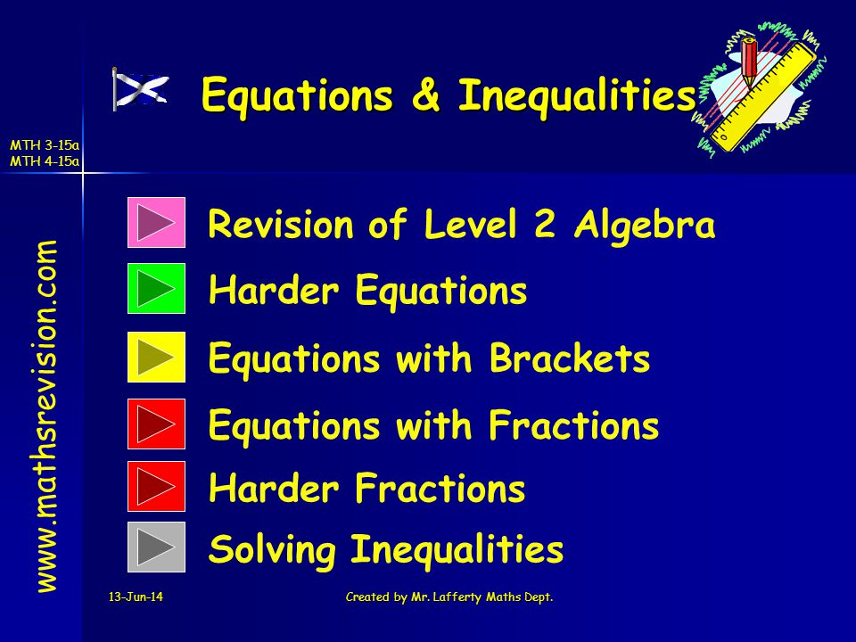 MTH 3-15a MTH 4-15a 13-Jun-14Created by Mr. Lafferty Maths Dept. Revision of Level 2 Algebra Harder Equations Equations & Inequalities www.mathsrevisi