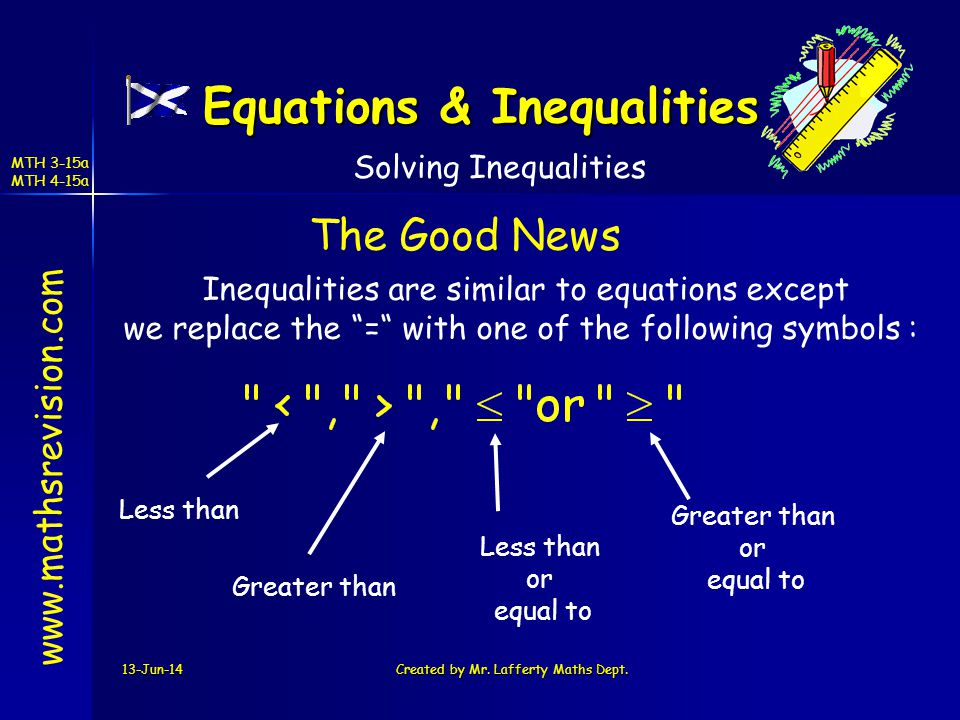 13-Jun-14Created by Mr. Lafferty Maths Dept. www.mathsrevision.com Inequalities are similar to equations except we replace the = with one of the follo