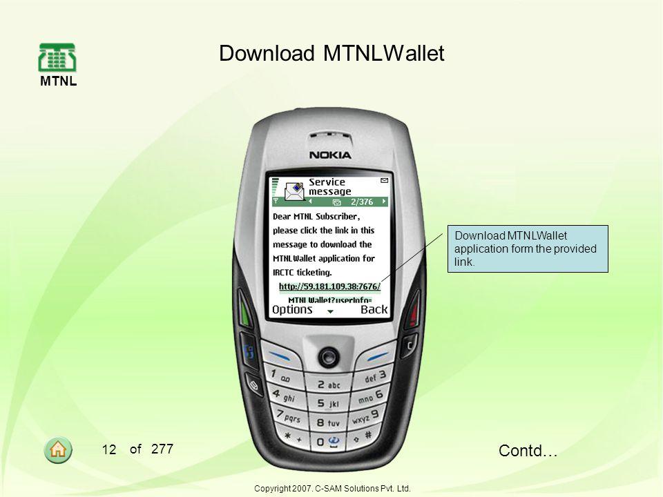 MTNL 12 of 277 Copyright 2007.C-SAM Solutions Pvt.