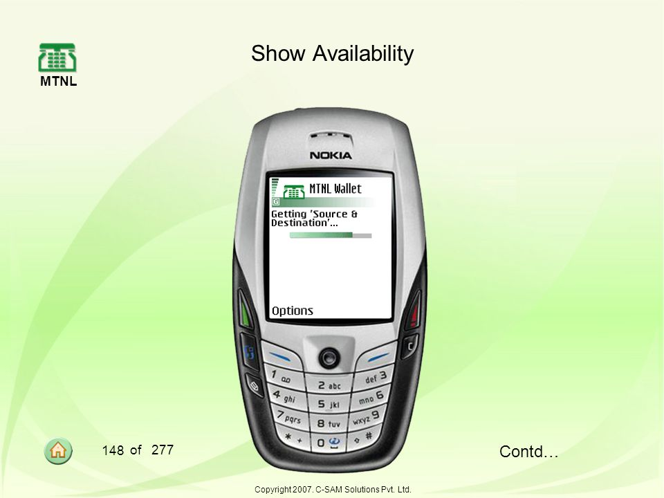 MTNL 148 of 277 Copyright 2007. C-SAM Solutions Pvt. Ltd. Show Availability Contd…