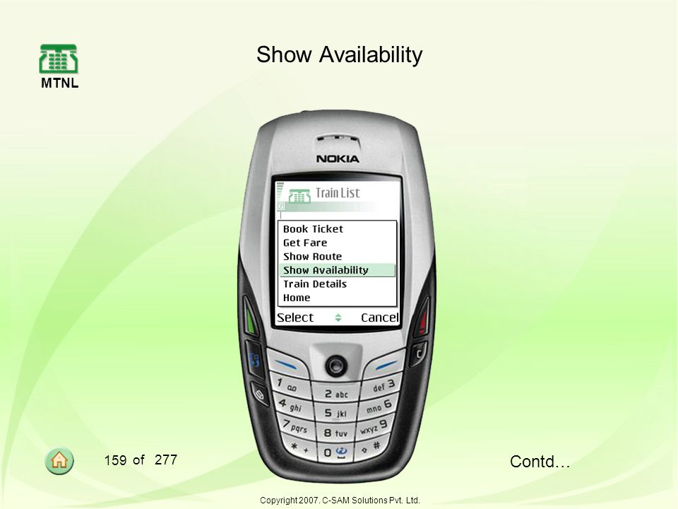 MTNL 159 of 277 Copyright 2007. C-SAM Solutions Pvt. Ltd. Show Availability Contd…