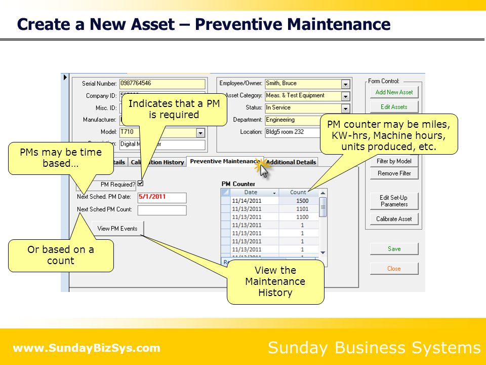 Sunday Business Systems www.SundayBizSys.com Create a New Asset – Preventive Maintenance Indicates that a PM is required PM counter may be miles, KW-h