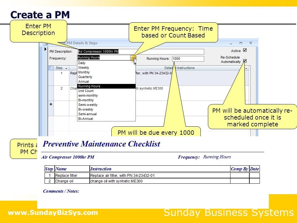 Sunday Business Systems www.SundayBizSys.com Create a PM Enter PM Description Prints a simple PM Checklist Enter PM Frequency: Time based or Count Bas