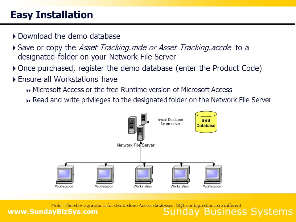 Sunday Business Systems www.SundayBizSys.com Easy Installation Download the demo database Save or copy the Asset Tracking.mde or Asset Tracking.accde