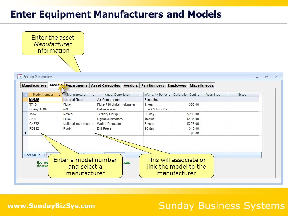 Sunday Business Systems www.SundayBizSys.com Enter Equipment Manufacturers and Models Enter the asset Manufacturer information Enter a model number and select a manufacturer This will associate or link the model to the manufacturer