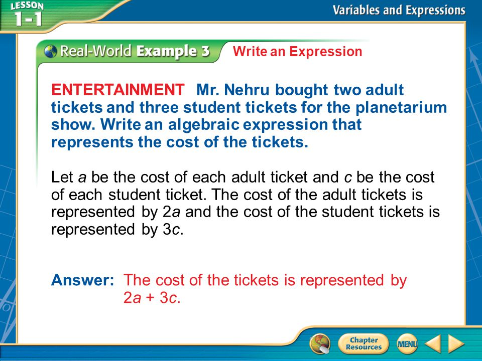 Example 3 Write an Expression ENTERTAINMENT Mr.