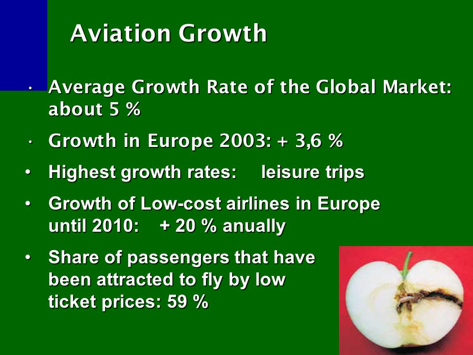 Subsidised Growth Subsidised Growth Tax exemptions for ticket sales, kerosene…Tax exemptions for ticket sales, kerosene… Public investment and financial supportPublic investment and financial support No internalisation of external costs of aviation (health impact, environment)No internalisation of external costs of aviation (health impact, environment) (…)(…)