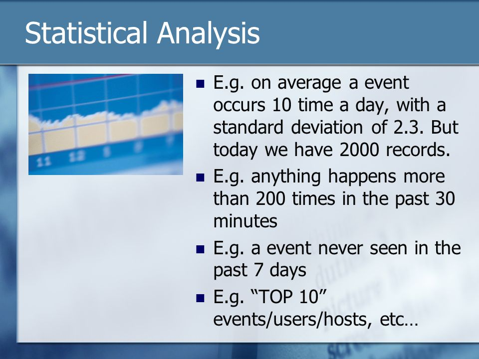 Statistical Analysis E.g.