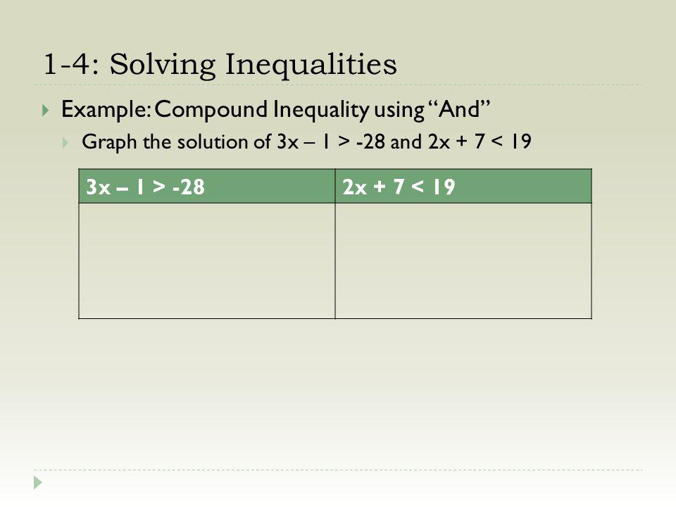 1-4: Solving Inequalities Example: Compound Inequality using And Graph the solution of 3x – 1 > -28 and 2x + 7 < 19 3x – 1 > -282x + 7 < 19 +1 +1 3x > -27