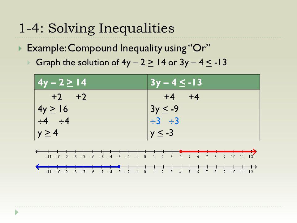 1-4: Solving Inequalities Example: Compound Inequality using Or Graph the solution of 4y – 2 > 14 or 3y – 4 < -13 4y – 2 > 143y – 4 < -13 +2 +2 4y > 16 4 y > 4 +4 +4 3y < -9 3 y < -3