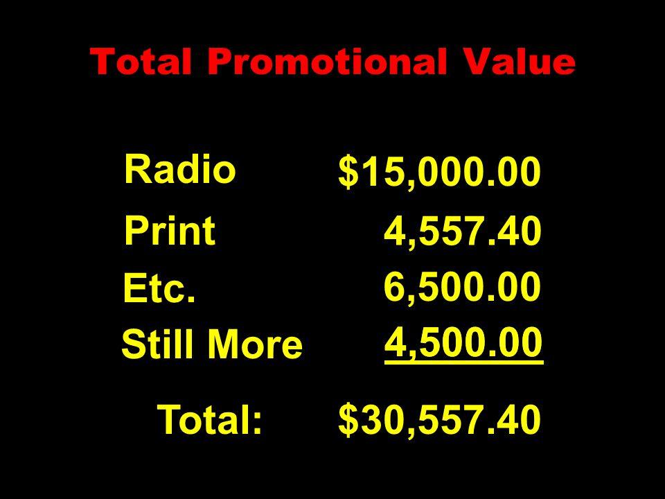 Total Promotional Value Radio Print Etc. Total: $15,000.00 4,557.40 6,500.00 $30,557.40 Still More 4,500.00 4,500.00