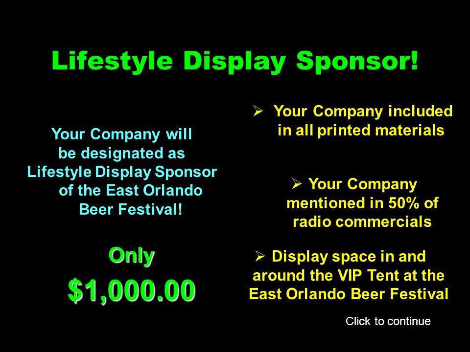 Lifestyle Display Sponsor.