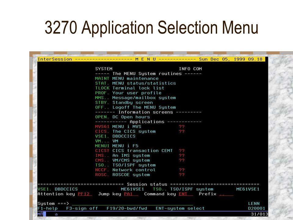 3270 Application Selection Menu