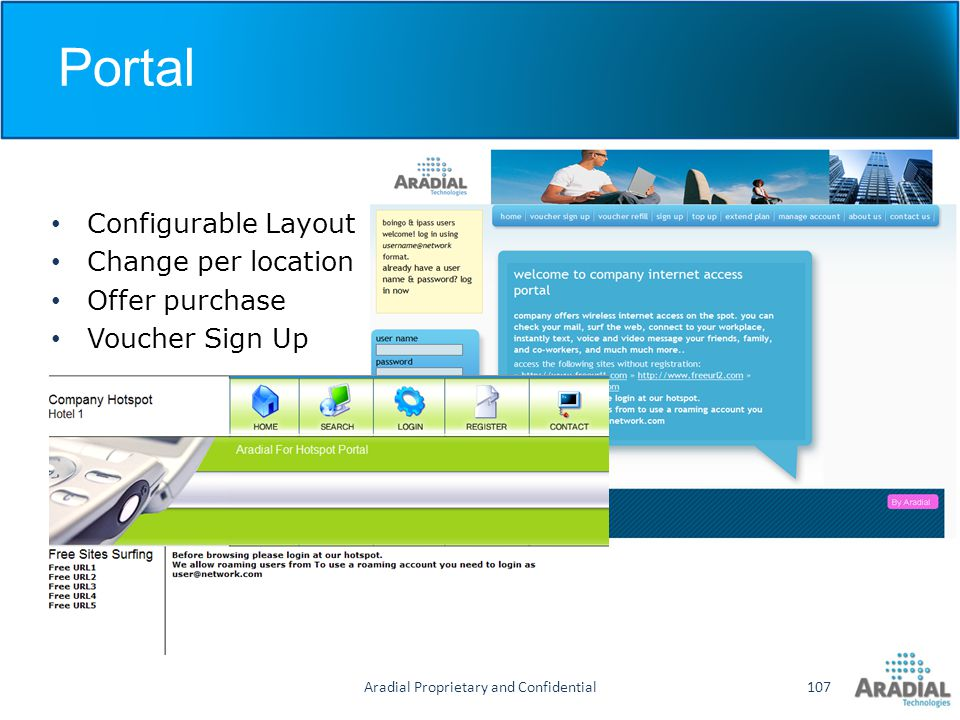 Aradial Proprietary and Confidential107 Configurable Layout Change per location Offer purchase Voucher Sign Up