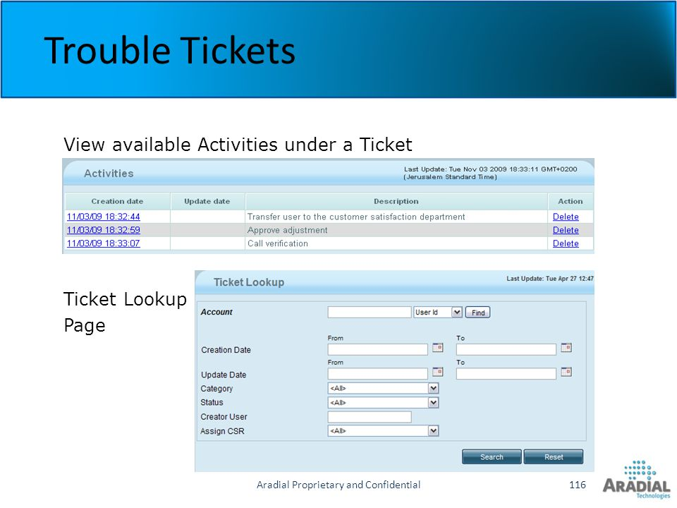Aradial Proprietary and Confidential116 Trouble Tickets View available Activities under a Ticket Ticket Lookup Page