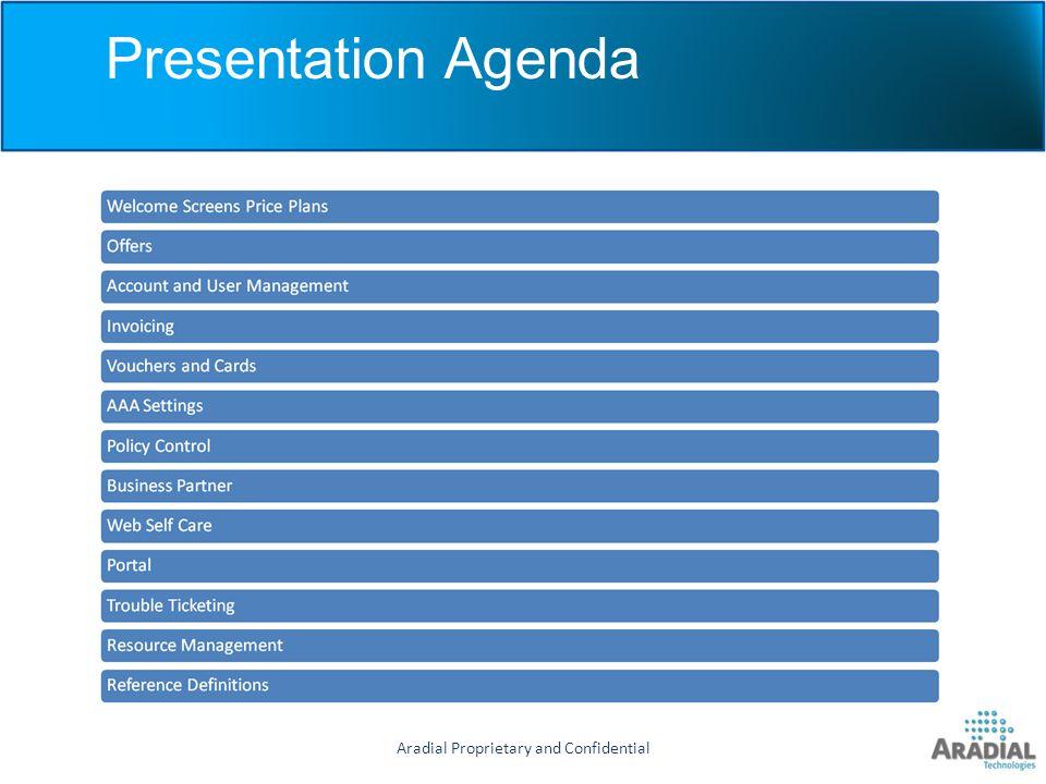 Aradial Proprietary and Confidential Presentation Agenda