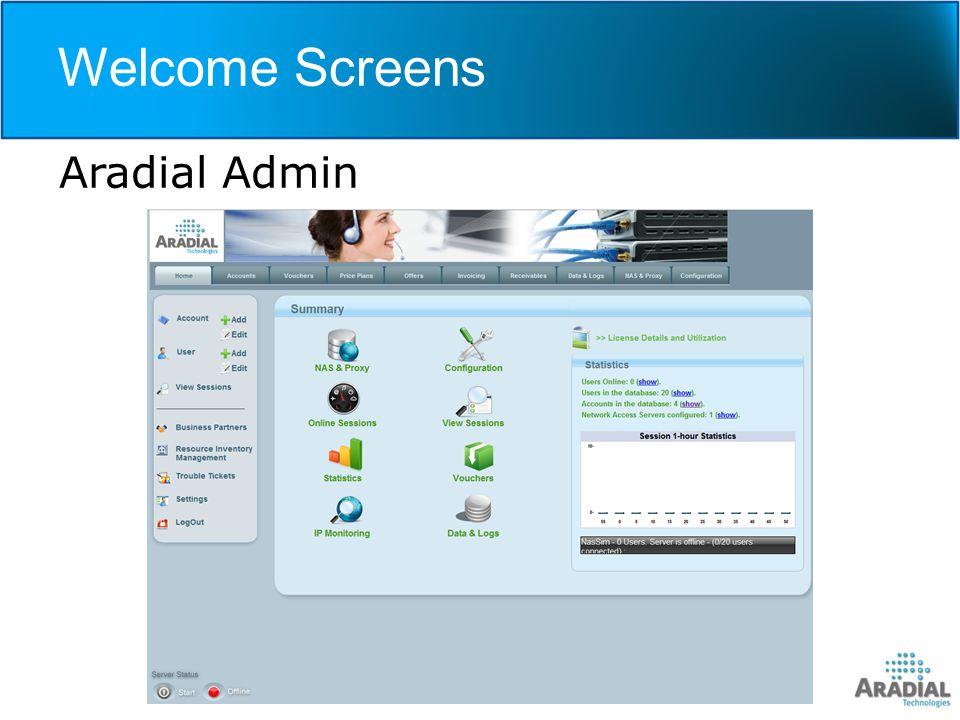 Welcome Screens Aradial Admin