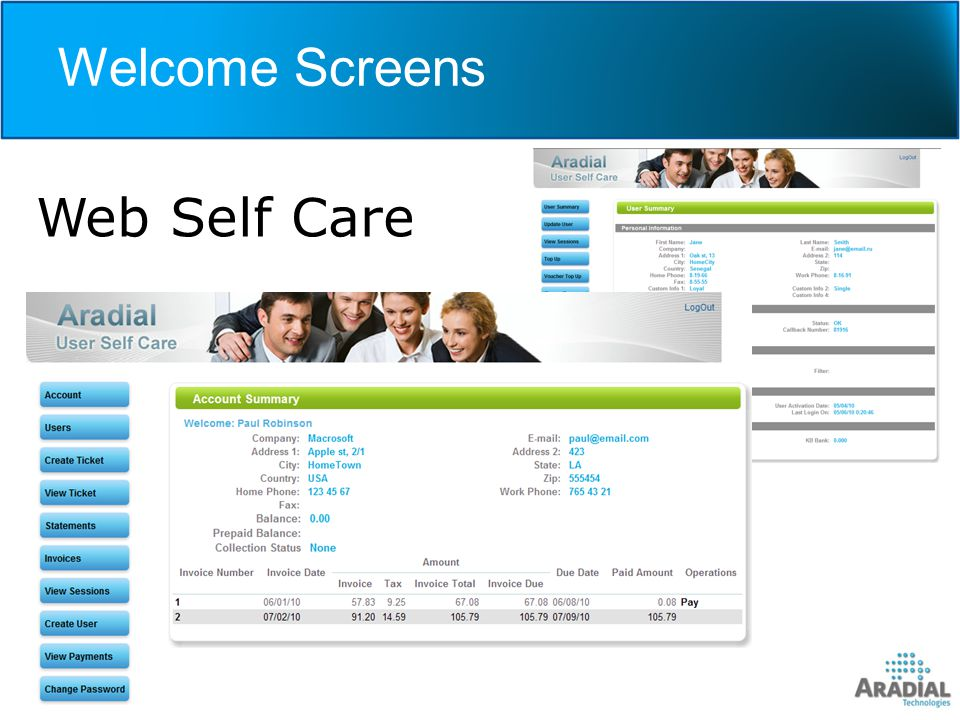 Welcome Screens Web Self Care