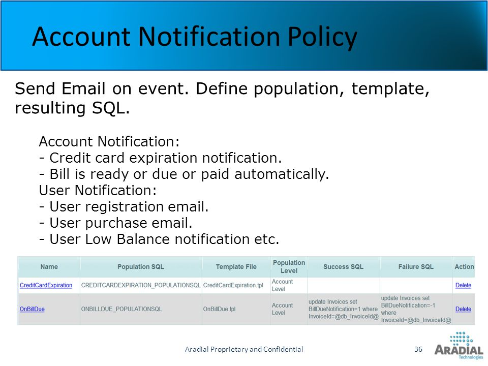 Aradial Proprietary and Confidential36 Account Notification Policy Send Email on event. Define population, template, resulting SQL. Account Notificati