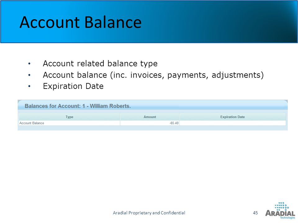 Aradial Proprietary and Confidential45 Account Balance Account related balance type Account balance (inc. invoices, payments, adjustments) Expiration