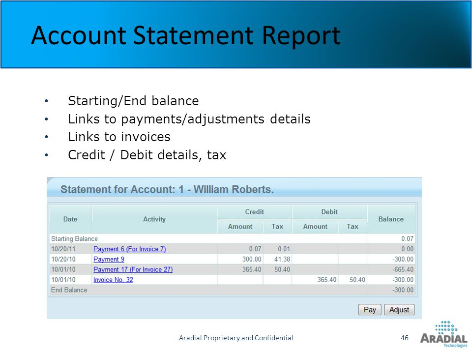 Aradial Proprietary and Confidential46 Account Statement Report Starting/End balance Links to payments/adjustments details Links to invoices Credit /