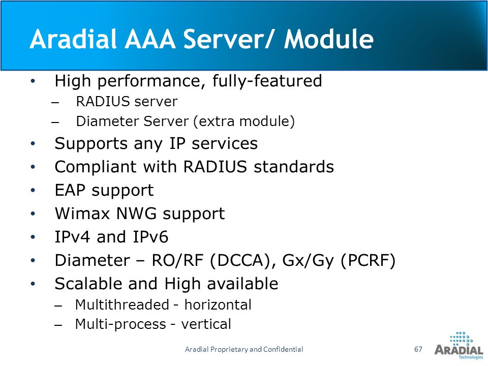 Aradial AAA Server/ Module High performance, fully-featured – RADIUS server – Diameter Server (extra module) Supports any IP services Compliant with R