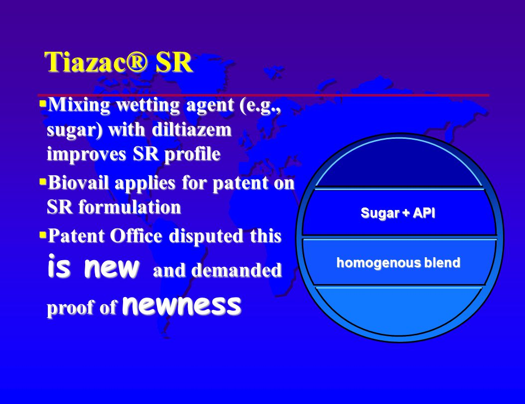 Tiazac® SR Mixing wetting agent (e.g., sugar) with diltiazem improves SR profile Mixing wetting agent (e.g., sugar) with diltiazem improves SR profile Biovail applies for patent on SR formulation Biovail applies for patent on SR formulation Patent Office disputed this is new and demanded proof of newness Patent Office disputed this is new and demanded proof of newness homogenous blend Sugar + API