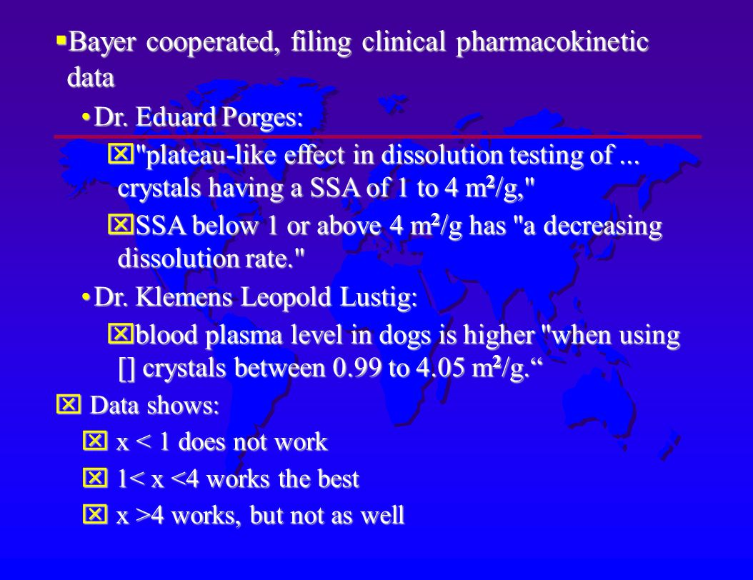 Bayer cooperated, filing clinical pharmacokinetic data Bayer cooperated, filing clinical pharmacokinetic data Dr.