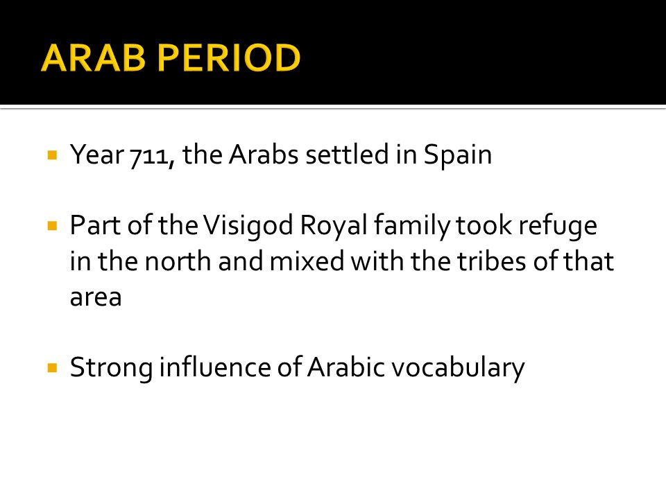 Year 711, the Arabs settled in Spain Part of the Visigod Royal family took refuge in the north and mixed with the tribes of that area Strong influence of Arabic vocabulary