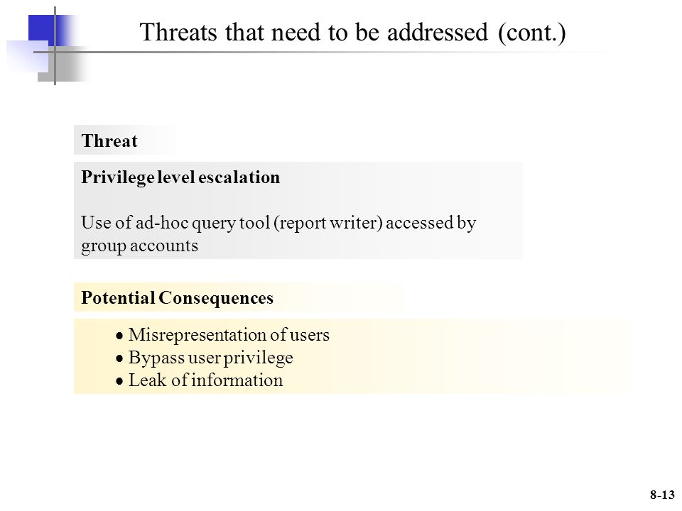 8-13 Threats that need to be addressed (cont.) Privilege level escalation Use of ad-hoc query tool (report writer) accessed by group accounts Misrepresentation of users Bypass user privilege Leak of information Threat Potential Consequences