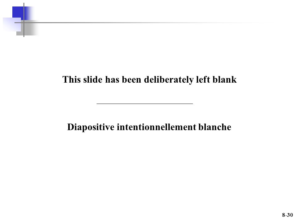 8-30 This slide has been deliberately left blank Diapositive intentionnellement blanche