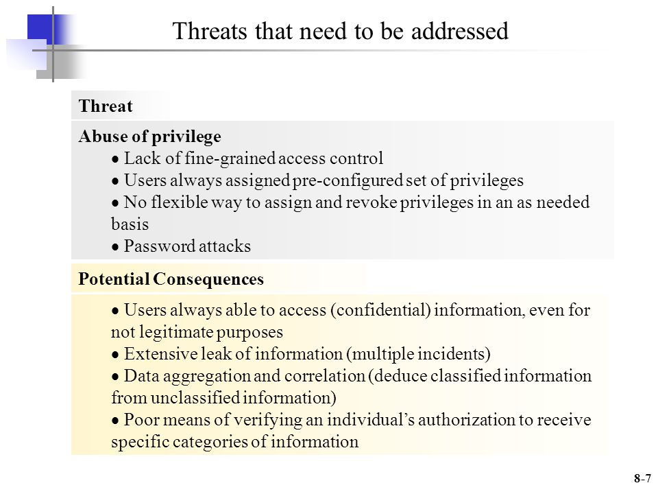 8-7 Abuse of privilege Lack of fine-grained access control Users always assigned pre-configured set of privileges No flexible way to assign and revoke privileges in an as needed basis Password attacks Users always able to access (confidential) information, even for not legitimate purposes Extensive leak of information (multiple incidents) Data aggregation and correlation (deduce classified information from unclassified information) Poor means of verifying an individuals authorization to receive specific categories of information Threat Potential Consequences Threats that need to be addressed