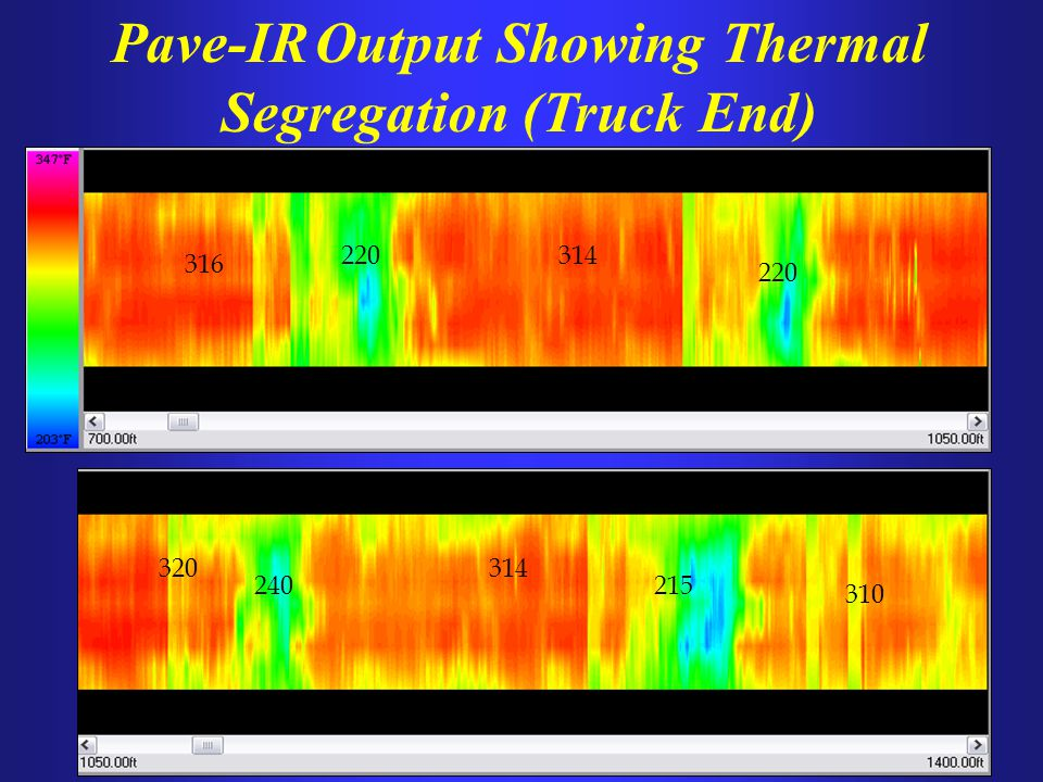 220 316 314 215240 320314 310 Pave-IR Output Showing Thermal Segregation (Truck End)