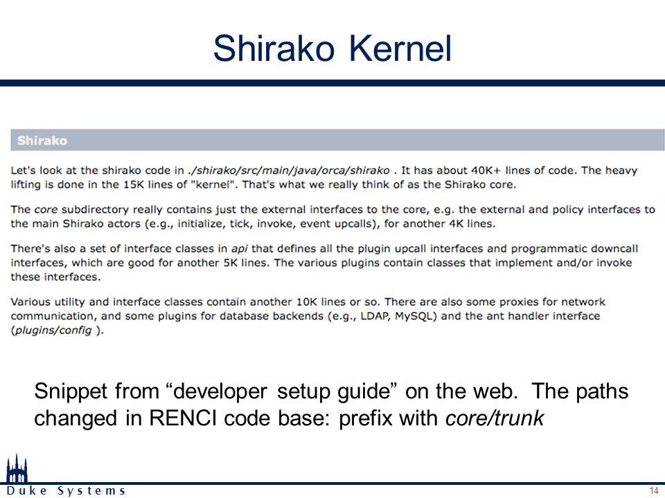 14 D u k e S y s t e m s Shirako Kernel Snippet from developer setup guide on the web.
