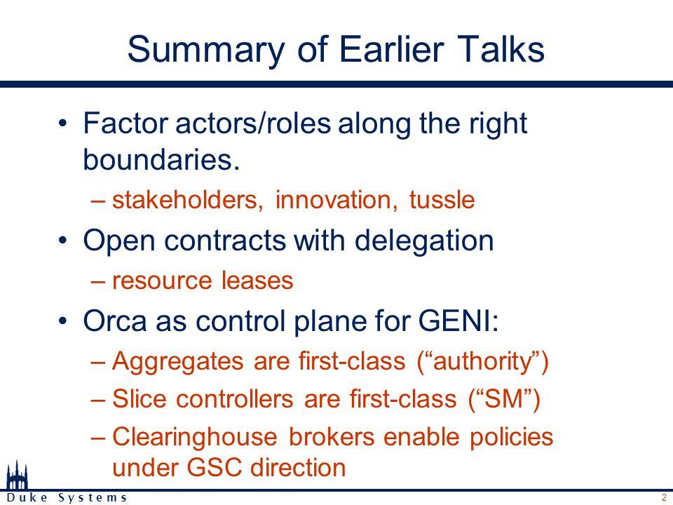 2 D u k e S y s t e m s Summary of Earlier Talks Factor actors/roles along the right boundaries.