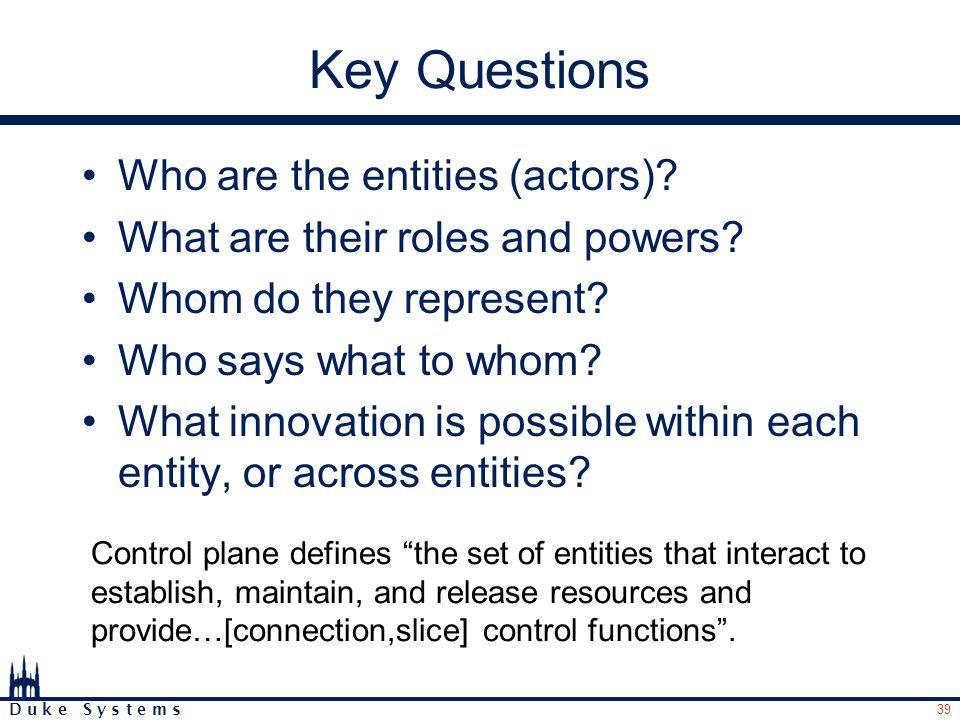 39 D u k e S y s t e m s Key Questions Who are the entities (actors).