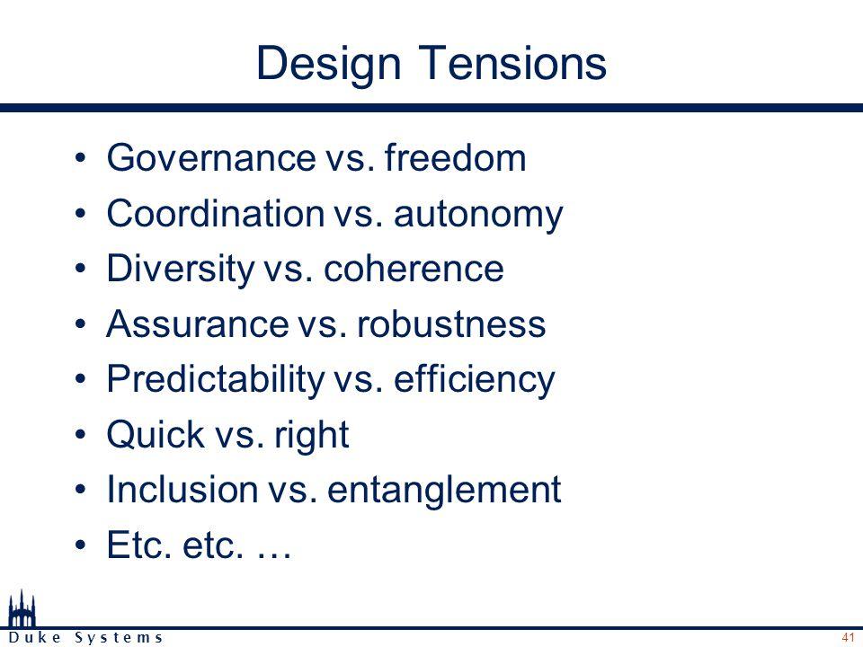 41 D u k e S y s t e m s Design Tensions Governance vs.